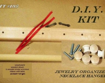 D.I.Y. Jewelry Hanger Kit, Make Your Own Jewelry Organizer. Woodworking Kit. Great Project For Kids or Adults.