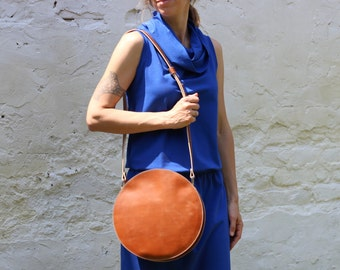 Brown leather bag, crossbody round bag, leather crossbody bag, circle bag, cross body bag FREE SHIPPING