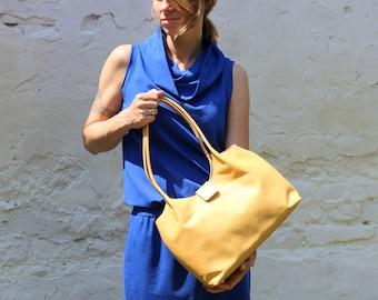 Leather shoulder bag,light yellow leather bag, leather handbag,  FREE SHIPPING