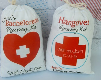 """Bachelorette Recovery Kit and Hangover bags Great for That special day Can be Personalized 5"""" X 7"""" or 6"""" X 8"""" Qty 8"""