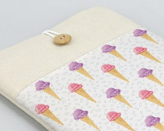 MacBook sleeve, Ice cream, Macbook 12 sleeve, 11in, 13in, 15in, 17in, Macbook case, Laptop case, Laptop sleeve, padded cover, Summer