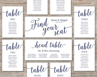Printable Seating Chart Wedding Seating Chart Cards //