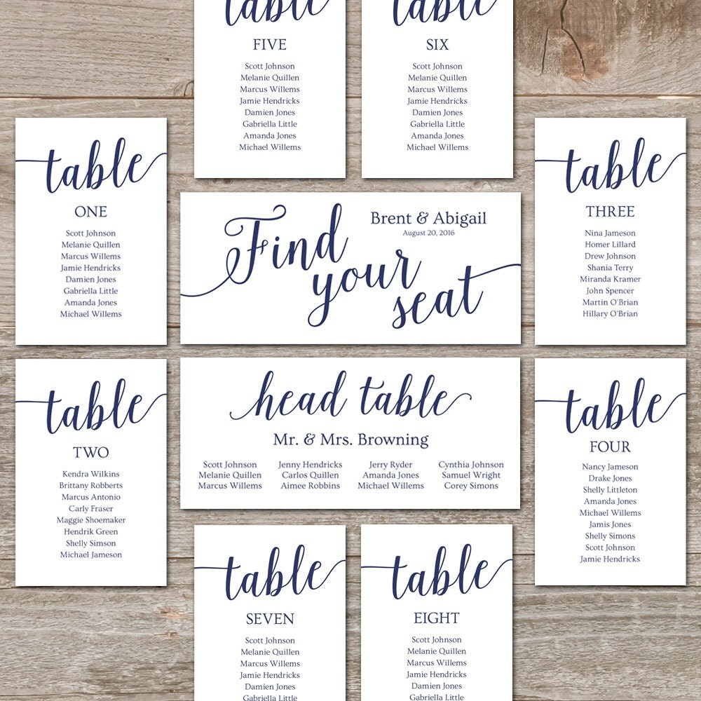 Navy seating chart template wedding seating chart cards zoom junglespirit Images