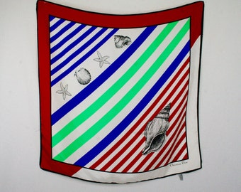 Vintage Christian Dior Sea Shells and Stripes Large Square Silk Scarf Made in Italy