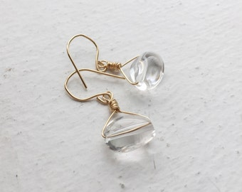 Crystal Nugget Gold Fill Earrings Simple Modern