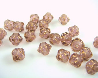 Czech Glass Beads - Transparent Amethyst with Gold Picasso (SAT/RJ-2255) - 6mm Saturn - Qty. 25