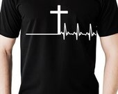 Men's christian tshirt with cross and heartbeat design, Men's clothing black tee, Black Christian t-shirt
