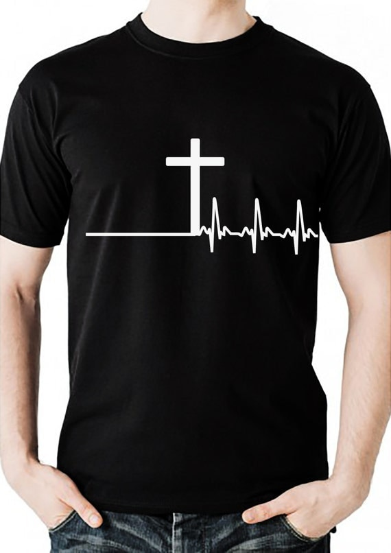 mens christian tshirt with cross and heartbeat design