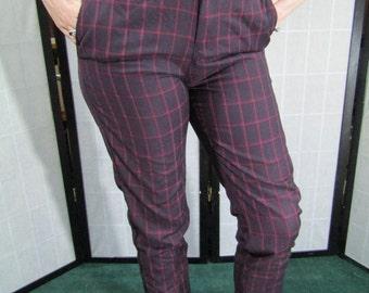 Windowpane Check Pattern Pants