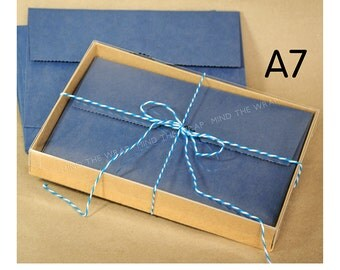 25 sets - A7 Kraft Box with Clear Lid - 5 3/8 x 1 x 7 1/2 inches - 2-piece Greeting Cards Presentation or Gift Box