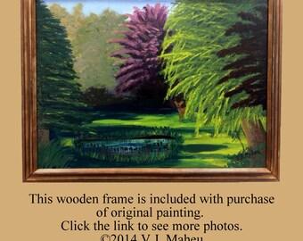 Framed Wall Art,deer painting,animal painting,landscape painting,tree painting,forest painting,wall decor,pond painting,original, Item #VBO1