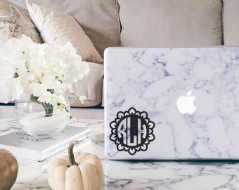 M016  Petals Circle Monogram, Laptop Stickers, Laptop Decal, Macbook Decal, Car Decal, Vinyl Decal