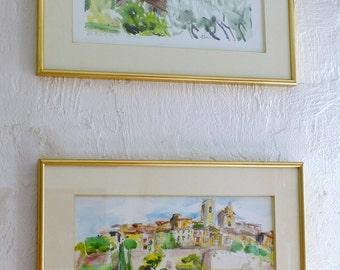 Original PROVENCE WATERCOLOR village - Saint Paul de Vence - Original watercolour painting - wall art