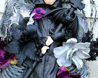Halloween Wreath, Warlock Wreath, Gothic Wreath, Black Purple Silver  Swag has Matching Witch for Double Doors. See other listing.