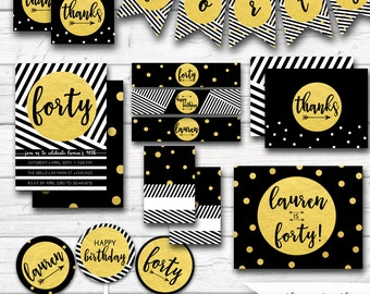 Black and Gold Party Decor, 40th Birthday, Black and Gold Birthday, Confetti, 50th Birthday etc, Stripes, Gold Foil, Printable Party Package