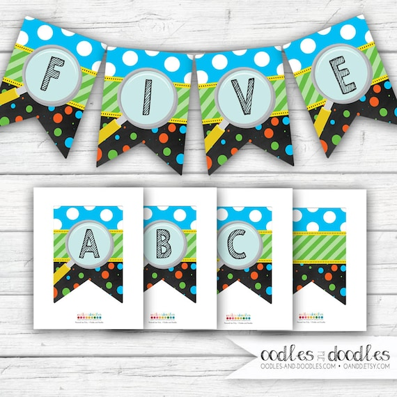 science birthday banner  science party decorations  printable create your own banner a