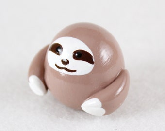 Chubby Sloth Totem - Polymer Clay Totem Animal - Sloth Figurine - Miniature Sloth - Three Toed Sloth Sculpture - Spirit Animal