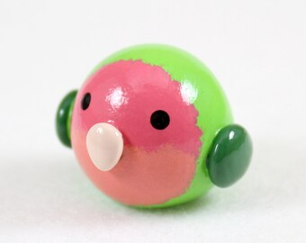 Chubby Lovebird Totem - Polymer Clay Totem Animal - Peach Faced Lovebird - Lovebird Figurine - Lovebird Sculpture - Fat Bird Miniature