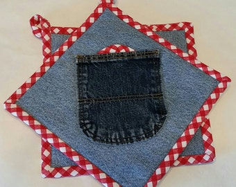 Denim & Red Gingham Pot Holders, Set of Two