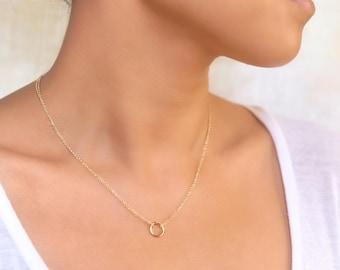 N257-Dainty 14k Gold Necklace Pendant, Eternity Circle, Gold Pendant Necklace, 14K Gold Jewelry, Dainty Gold Chain, Festival Jewelry