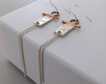 Butterfly Drop Earrings, Mixed Metal Earrings, Copper Brass Silver Earrings, Artisan Earrings, Dangle Earrings, Silver Butterfiles
