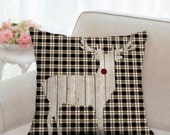Christmas Black and White Plaid with White Reindeer Pillow