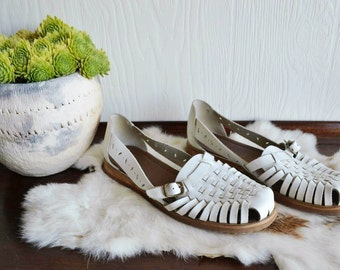 White Leather Huarache Sandals