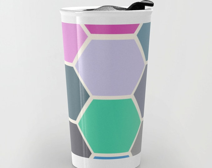 Colorful Travel Mug - Hexagon Art - Coffee Travel Mug - Hot or Cold Travel Mug - 12oz Travel Mug - Made to Order