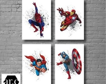 Set of 4 Superhero Wall Prints