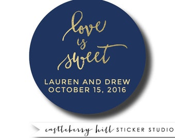 Navy and gold stickers, watch love grow stickers, navy and gold favors, navy and gold labels custom, custom stickers, wedding favor stickers