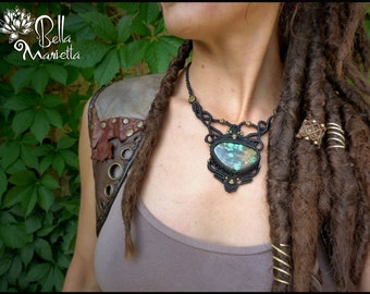 Black tribal organic macrame necklace. Steampunk macrame jewerly. Handmade macrame necklace with natural gemstone Turquoise.