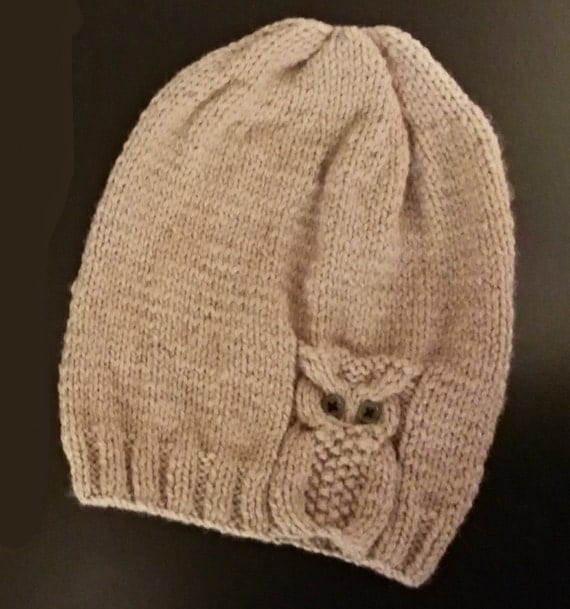 Knitting Patterns For Beanies With Straight Needles : Owl Hat Knitted on two straight needles Knitting Pattern