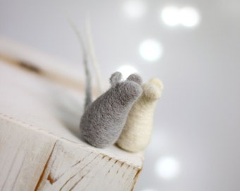 Needle Felt Mouse - Set Of Two Baby Mice - Needle Felt Dolls - White Mouse - Gray Mouse - Summer Boho Home Decor - Needle Felt Animals