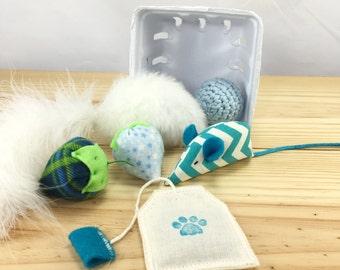 KittenKit: Blue Gift Set, Catnip Mice, Catnip Strawberry, Swirly Batter, Catnip Teabag, Crochet Jingle Bell, Feather Cat Toy