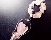 Angel necklace, rose quartz necklace, pink angel necklace, gemstone necklace, love necklace, boho necklace, rose quartz pendulum necklace