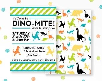 Dinosaur Invitation, Dinomite Birthday, Dinosaur Birthday, Dino Birthday Invite, Dino Party Invite, Boys Birthday, Printable Invite, #40