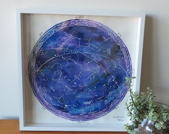 Watercolor Constellation Map Print
