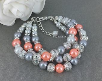 Pearl Jewelry, Pearl Bracelet, Bridesmaid Gift, Bridesmaid Jewelry, Bright Coral and Grey Bracelet, Coral Pearl Jewelry
