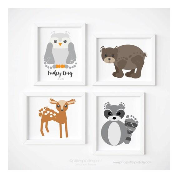 Woodland Nursery Decor Art Print Set, Baby Footprint Bear Owl Raccoon Fox Bunny Rabbit Deer, Personalized with Your Child's Feet, UNFRAMED