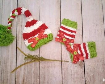 Christmas Hat and Leg Baby/Toddler Photo Prop- Hat and Leg Warmers- Newborn and Toddler Crochet Christmas Photo Props