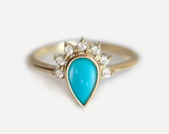 Turquoise Engagement Ring, Engagement Turquoise Ring, Pear Engagement Ring, Turquoise Diamond Ring, Simple Engagement Ring