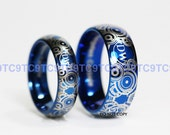 Stunning 6MM & 8MM Tungsten Wedding Rings In Advanced GALLIFREYAN Design With FREE Whovian Companion Contract