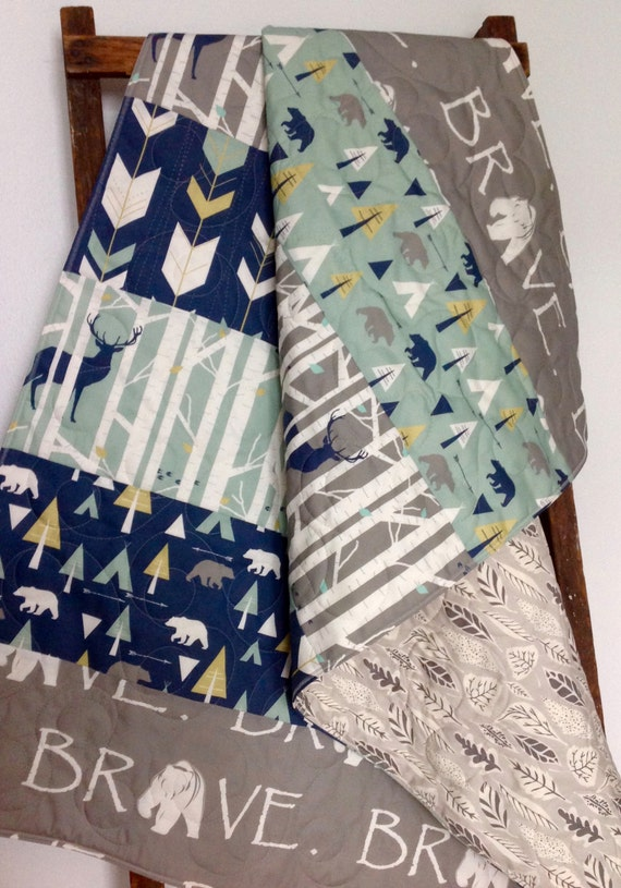 Baby Quilt Boy Quilt Bear Deer Arrow Brave Birch By Coolspool