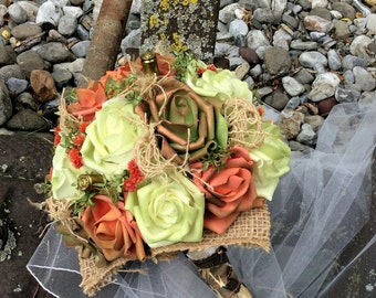 Rustic Wedding Set/Bridal Flowers/Bridesmaid/Boutonniere-Bridal Bouquet set-Camo/Country/Wedding  Flowers-Country Western/Burlap&Shells