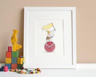 Balancing Elephant, UNFRAMED Kid's circus picture, Children's fun fair, Circus animal Art, Circus theme nursery, Carnival Illustration