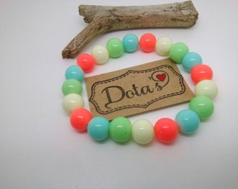 Elasticated beaded bracelet neon and pastel colour mix