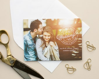 Wedding Save the Dates, Full Bleed Photo Card, Engagement Photo Announcement, Traditional Save the Date Cards | Sealed
