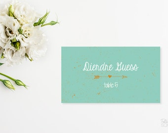 Printable place cards Mint green placecards Reception place cards Wedding placecards Arrow Folded placecards Hipster wedding Rustic wedding
