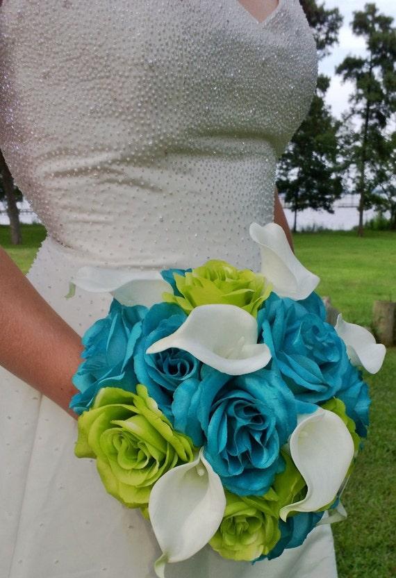 Malibu Blue Wedding Bouquet Lime Green Bouquet White Calla
