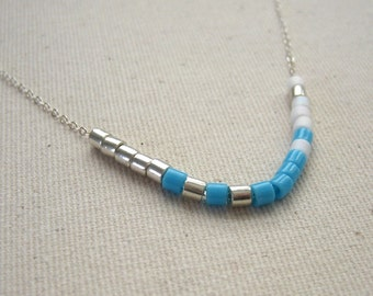 Turquoise and White Color Blocked Sterling Silver Choker Necklace